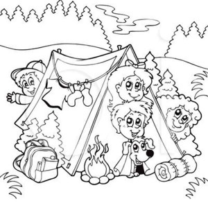 camping kids coloring pages - photo#29