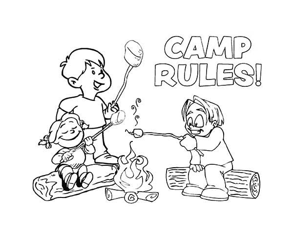Camp Rules On Summer Camp Coloring Page