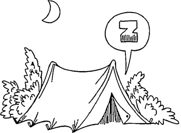Camping In The Night On Summer Camp Coloring Page
