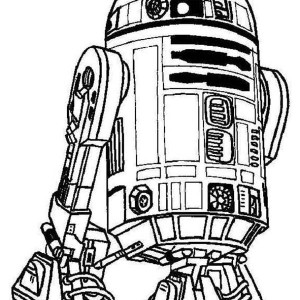 Cute R2D2 Droid in Star Wars Coloring Page