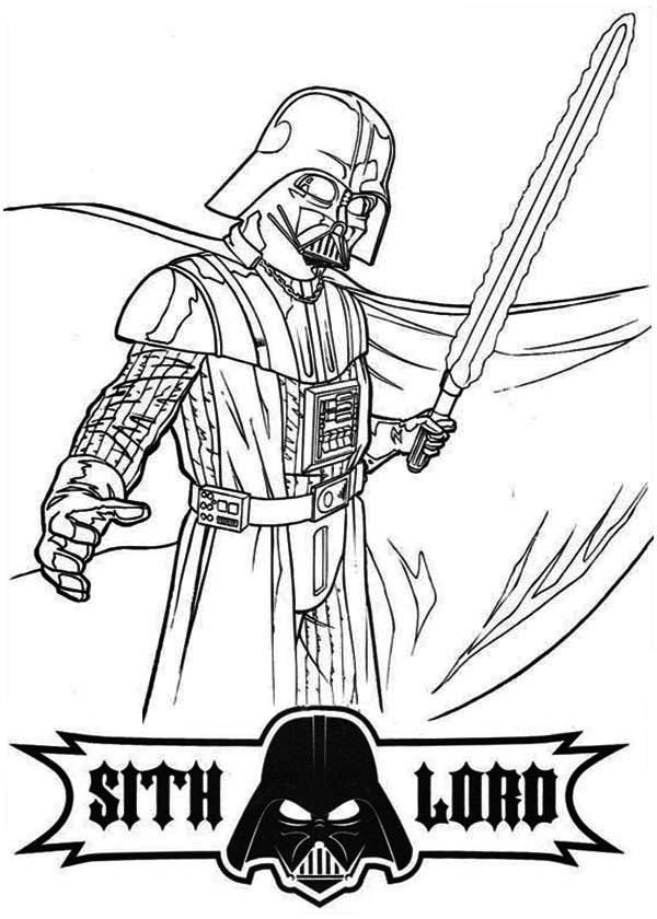 Star Wars Darth Vader Is So Angry In Coloring Page