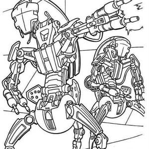 Droidekas Shooting Laser Gun in Star Wars Coloring Page