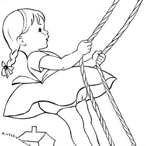 Fun Summertime Vacation with Swing Coloring Page