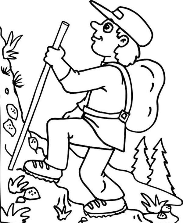 hiking on summer camp coloring page