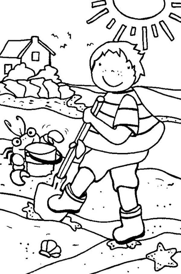 Kid Playing Sand Castle with Crab on Summertime Coloring Page ...
