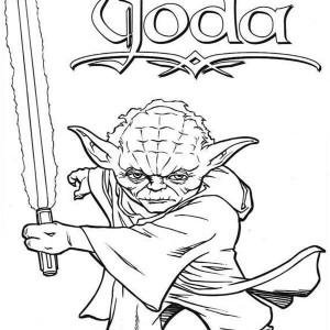 Star Wars Master Yoda Swing Light Saber In Coloring Page