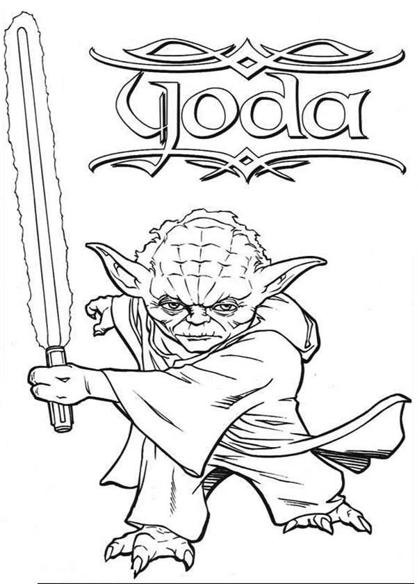 Master Yoda Swing Light Saber in Star Wars Coloring Page - Download ...