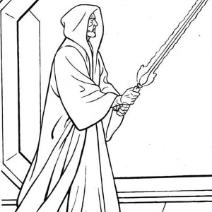 Palpatine Holding Light Saber in Star Wars Coloring Page