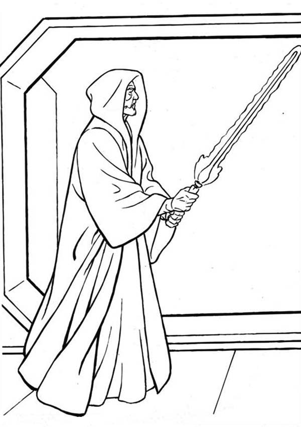 Palpatine Holding Light Saber In Star Wars Coloring Page Map Of The World Colouring Page