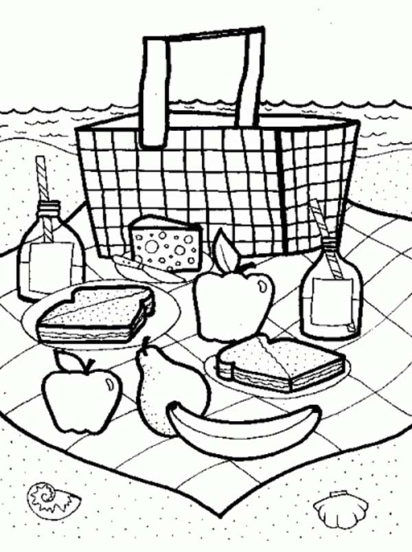 Picnic Launch on Summertime Coloring Page Download Print