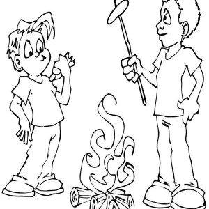 Campfire Coloring Pages Best Marshmallow Campfire Camping Coloring