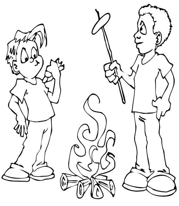 Roasting Hot Dogs with Campfire on Summer Camp Coloring Page