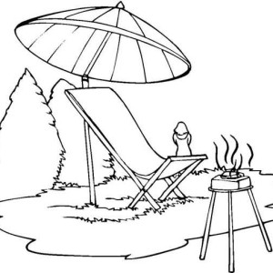 Summer Camp Barbeque Coloring Page