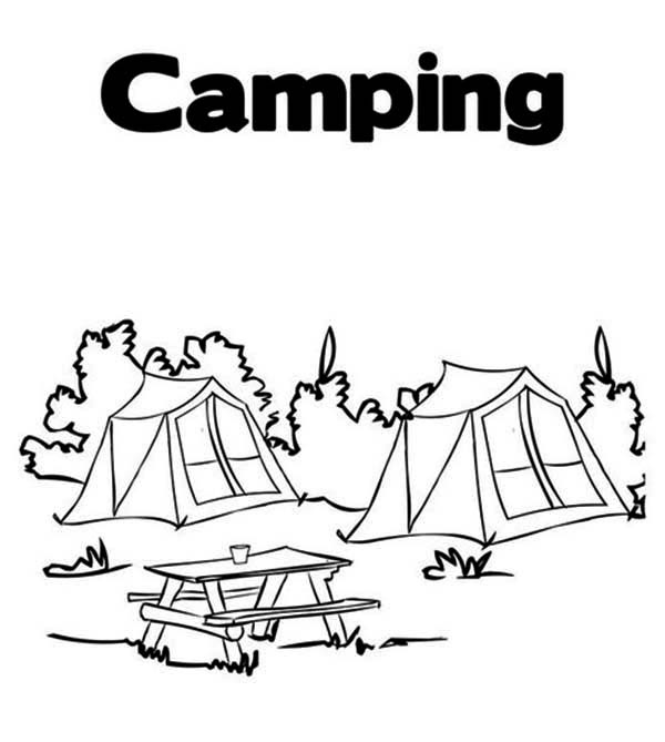 Summer Camp Tent in the Forest Coloring Page Download Print