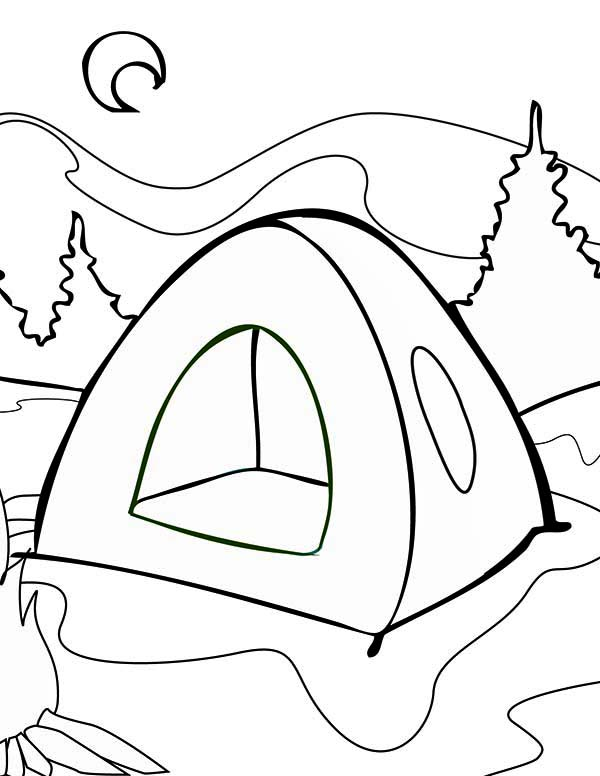 Summer Tent on Summer Camp Coloring Page Download Print Online