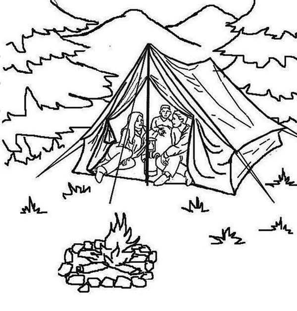 Summer Vacation at Summer Camp Coloring Page: Summer Vacation at ...