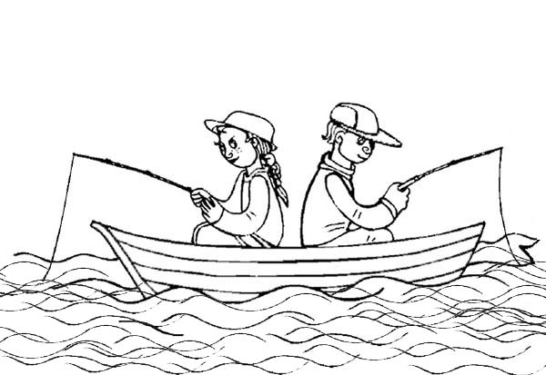 summertime fishing on boat coloring page