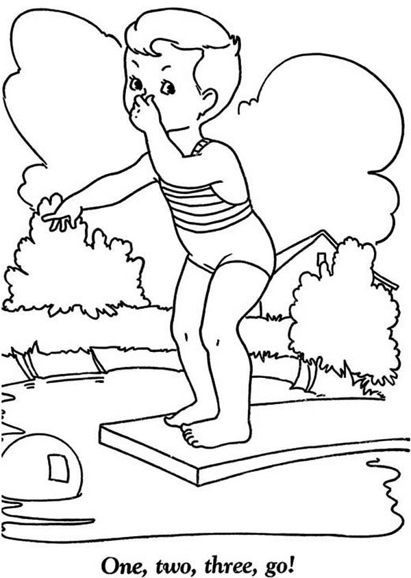 Summertime Holiday We Swim in the Pool Coloring Page - Download ...