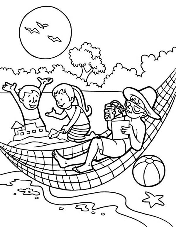 Summertime Holiday on the Beach with All Family Coloring Page ...