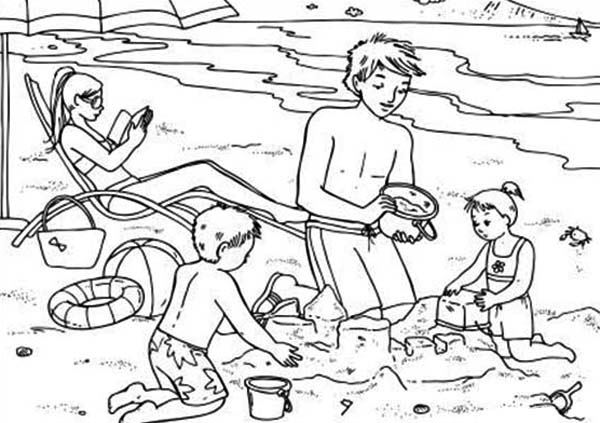 summertime vacation at the beach coloring page download print