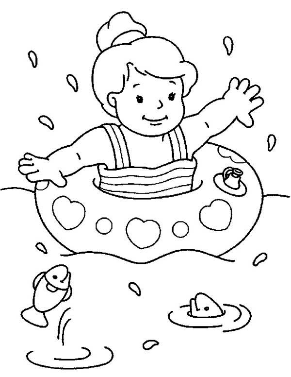 Swimming at the sea on summertime coloring page