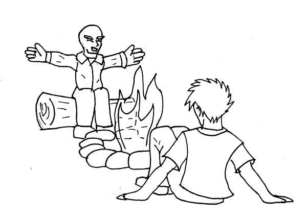 Telling Story Summer Camp Campfire Coloring Page Download