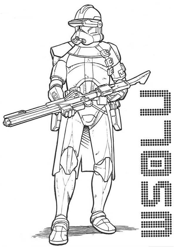 The clone trooper drawing in star wars coloring page