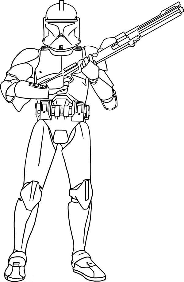 The clone trooper hold a gun in star wars coloring page