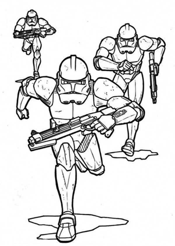 The Clone Troopers Pursuing in Star Wars Coloring Page Download