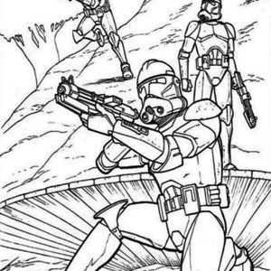 The Clone Troopers Standby in Star Wars Coloring Page
