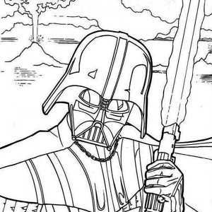 The Evil Darth Vader in Star Wars Coloring Page
