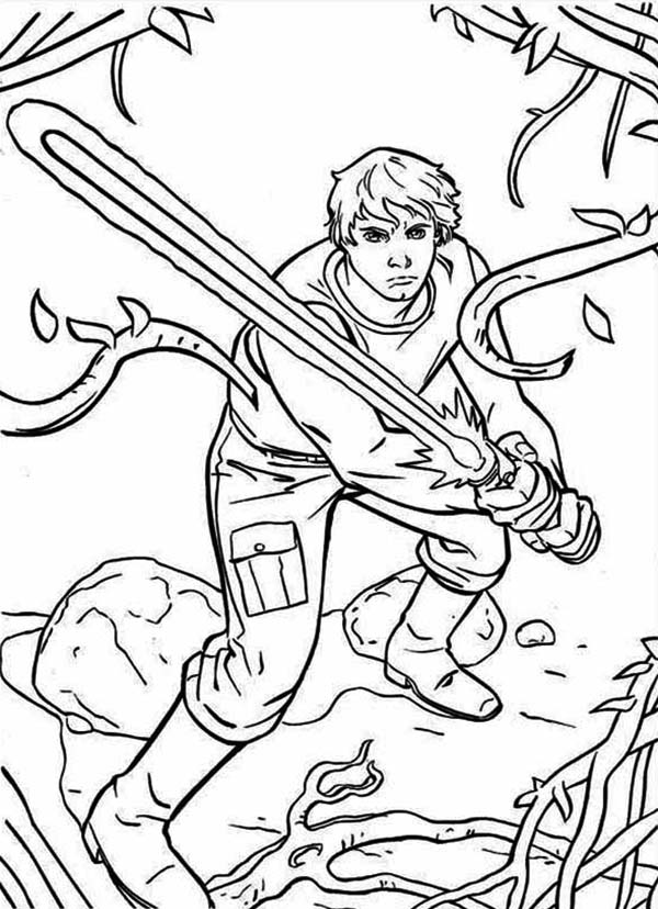Luke Skywalker Coloring Pages The Great Luke Skywalker Standby With Light Saber In Star Wars .