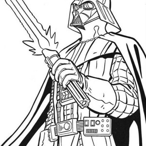 The Terrifying Darth Vader with Light Saber in Star Wars Coloring Page