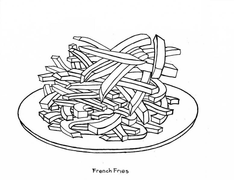 A Plate of French Fries Junk Food Coloring Page  Download  Print