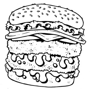 Double Decker Cheeseburger Junk Food Coloring Page