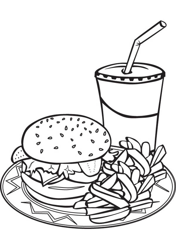 Drawing Junk Food Trio Coloring Page - Download U0026 Print Online Coloring Pages For Free | Color ...