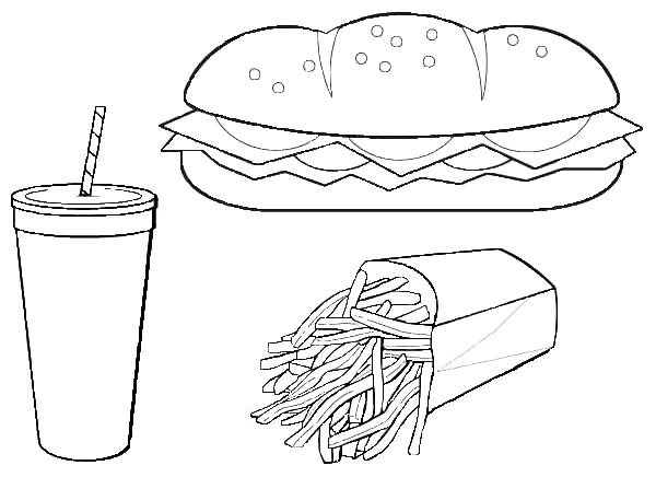 Eat Hot Dog And French Fries With Coke Junk Food Coloring Page