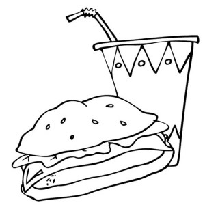 Junk Food Burger and Drink Coloring Page