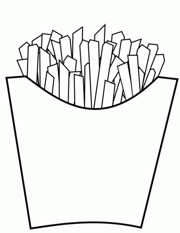 Junk Food Delicious Fries Coloring Page