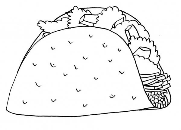 mexican taco junk food coloring page