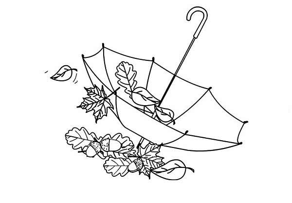 Autumn Leaf In Umbrella Coloring Page