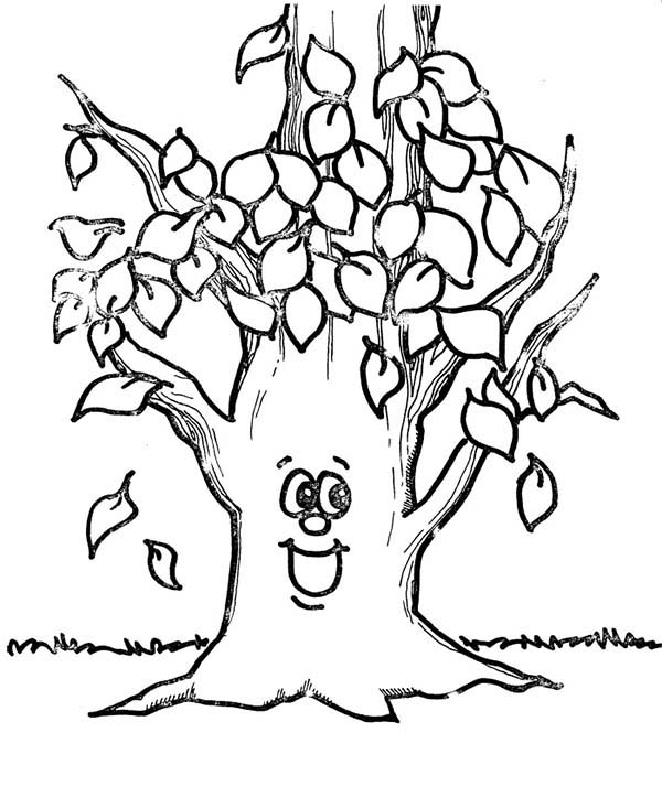 Happy tree autumn leaf coloring page download print for Free fall coloring pages