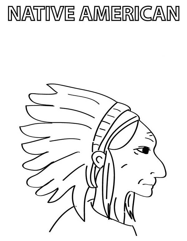 Native American Chief Prepare for Native American Day Coloring Page ...