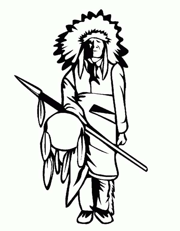native american day native american tribe chief on native american day coloring page - Native American Coloring Pictures