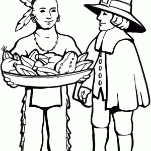 Native American and White Skin on Native American Day Coloring Page