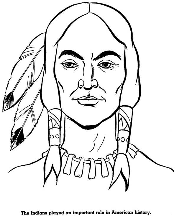 potrait of native american on native american day coloring page - Native American Coloring Pages