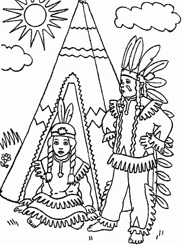 native american day two native american in front of teepee on native american day - Native American Coloring Pages