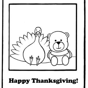 A Lovely Little Bear and the Turkey on Canada Thanksgiving Day Coloring Page