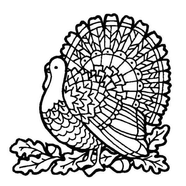 Canada Thanksgiving Day Turkey on Mozaic Coloring Page Download