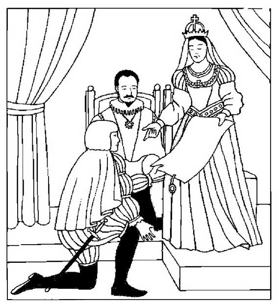 Columbus With King And Queen Of Spain On Day Coloring Page